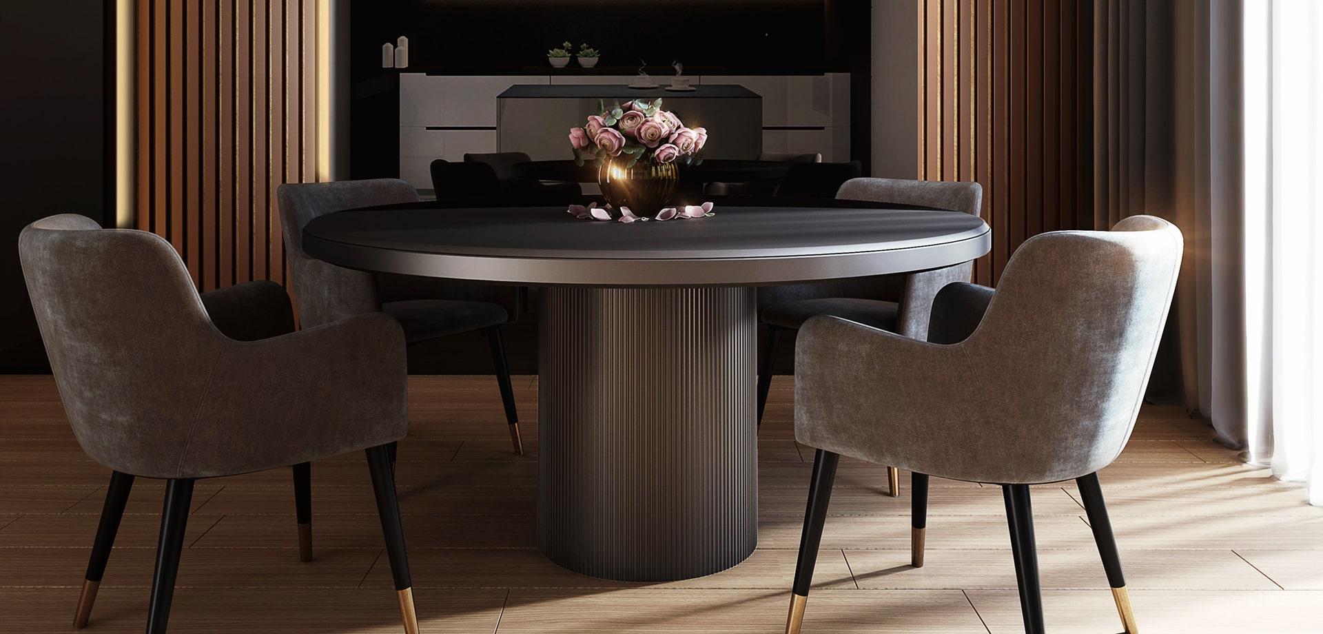 στρογγυλή τραπεζαρία με υφασμάτινες καρέκλες με ξύλινα πόδια