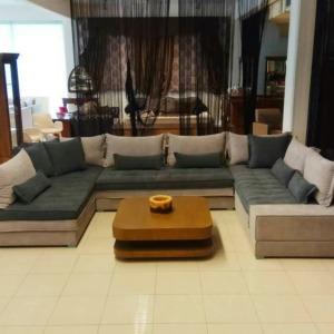 Μεγάλος καναπές Doublo σε διάταξη Π γκρι χρώματος έπιπλα σαλονιού Μπόζογλου