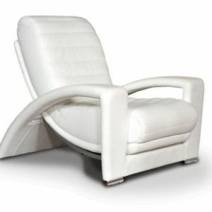 δερμάτινη άσπρη πολυθρόνα Roc