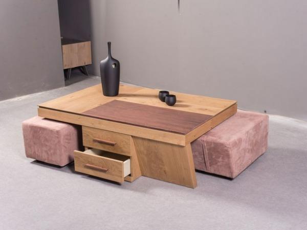 ξύλινο τραπεζάκι σαλονιού με ανοιγόμενα καπάκια συρτάρια και δυο σκαμπό 2