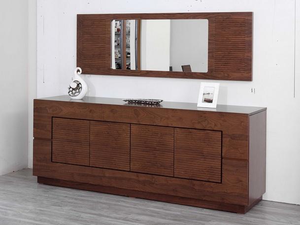 ξύλινος μπουφές με ντουλάπια και καθρέφτη τοίχου kyma