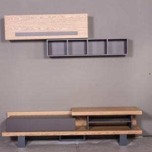 ξύλινο σύνθετο σαλονιού με ντουλάπια και ράφια τοίχου