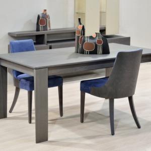 ξύλινο ορθογώνιο τραπέζι pepper με βαμβακερές καρέκλες χωρίς χέρια και ξύλινα πόδια