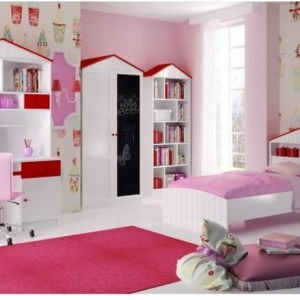 παιδικό ροζ δωμάτιο collection roof με γραφείο ντουλάπα βιβλιοθήκη κρεβάτι