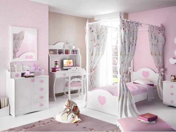 παιδικό ροζ δωμάτιο happy με κρεβάτι με κουρτίνες γραφείο με ράφια