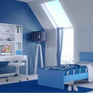 παιδικό δωμάτιο μπλε sky με κρεβάτι και γραφείο βιβλιοθήκη