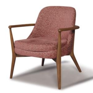 μάλλινη πολυθρόνα miranta red με ξύλινα χέρια και πόδια