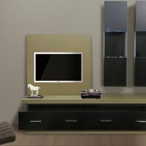 ξύλινο σύνθετο σαλονιού με ντουλάπια και ξύλινες βιτρίνες τοίχου και βάση τηλεόρασης τοίχου και led φωτισμό