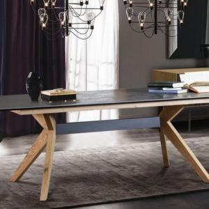ξύλινο ορθογώνιο τραπέζι gorrior με ξύλινα πόδια